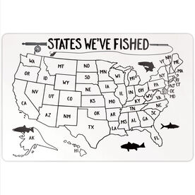 """Fly Fishing 18"""" X 12"""" Aluminum Room Sign - States We've Fished Outline"""
