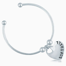 Silver Softball Heart On Silver Plated Cuff Bracelet