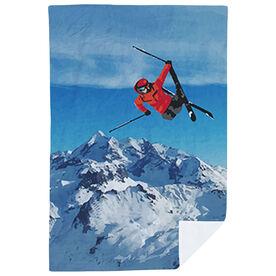 Skiing Premium Blanket - Airborne Landscape