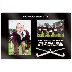 """Field Hockey 18"""" X 12"""" Aluminum Room Sign - Player and Team Photo"""