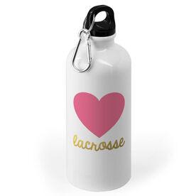 Girls Lacrosse 20 oz. Stainless Steel Water Bottle - Heart with Gold Lacrosse