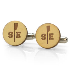 Crew Engraved Wood Cufflinks Split Initials