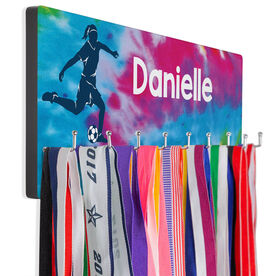 Soccer Hooked on Medals Hanger - Personalized Soccer Girl With Tie-Dye