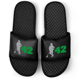 Guys Lacrosse Black Slide Sandals - Latitude Lax Player with Number