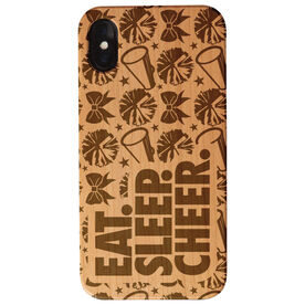 Cheerleading Engraved Wood IPhone® Case - Eat. Sleep. Cheer.