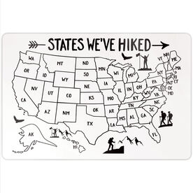"Personalized 18"" X 12"" Aluminum Room Sign - States We've Hiked Outline"