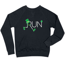 Running Raglan Crew Neck Sweatshirt - Let's Run Lucky