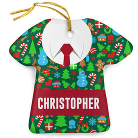 Personalized Porcelain Ornament - Guy Ugly Sweater