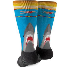 Swimming Printed Mid-Calf Socks - Shark Attack (Girl Swimmer)