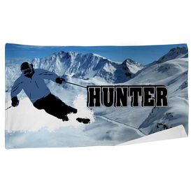 Skiing Beach Towel Personalized Silhouette