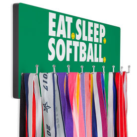 Softball Hooked on Medals Hanger - Eat Sleep Softball