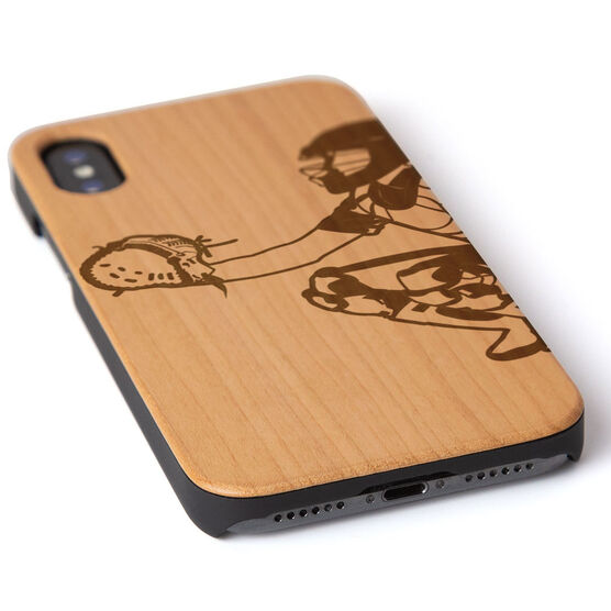 Softball Engraved Wood IPhone® Case - Catcher