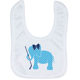 Hockey Baby Bib - Hockey Elephant with Bow
