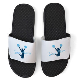Cheerleading White Slide Sandals - Jump With Joy With Your Name