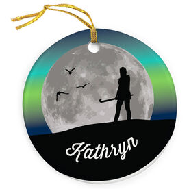 Field Hockey Porcelain Ornament Field Hockey Sunset