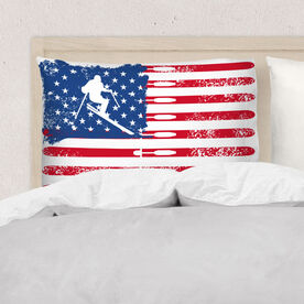 Skiing Pillowcase - American Flag