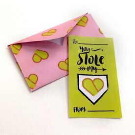 You Stole My Heart Softball Valentine's Day Card