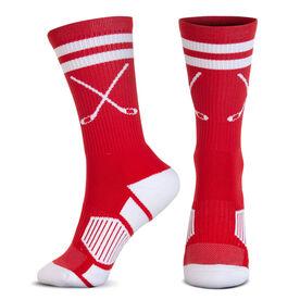 Hockey Woven Mid-Calf Socks - Classic Stripe Crossed Sticks (Red/White)