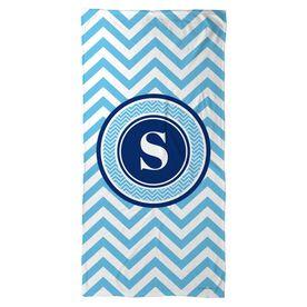 Swimming Beach Towel Single Letter Monogram with Chevron