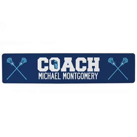 "Guys Lacrosse Aluminum Room Sign - Coach Lacrosse (4""x18"")"