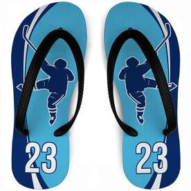 Hockey Flip Flops Personalized Slap Shot
