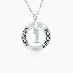 Hockey Message Ring with Jersey Number Necklace