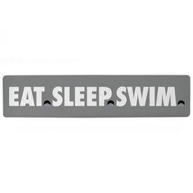 "Swimming Aluminum Room Sign - Eat Sleep Swimming (4""x18"")"