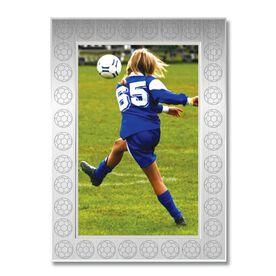 Engraved Soccer Frame Silver 4 x 6 with Soccer Border