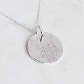 Sterling Silver 20mm Circle Necklace Tennis Monogram
