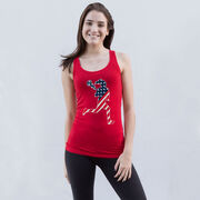 Girls Lacrosse Women's Athletic Tank Top - Play Lax for USA