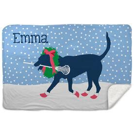 Girls Lacrosse Sherpa Fleece Blanket - LuLa the Christmas Lax Dog