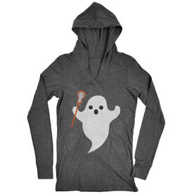 Women's Lacrosse Lightweight Performance Hoodie Ghost with Lacrosse Stick