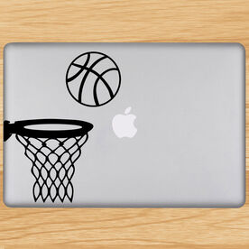 Basketball In Hoop Removable ChalkTalkGraphix Laptop Decal