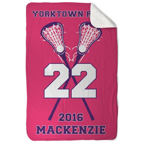 Girls Lacrosse Sherpa Fleece Blanket Personalized Team with Crossed Sticks