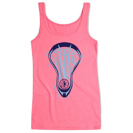 Girls Lacrosse Women's Athletic Tank Top Lax Is Life With Monogram