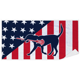 Guys Lacrosse Premium Beach Towel - Patriotic Lacrosse Dog