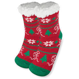 Running Slipper Socks with Sherpa Lining (Christmas)