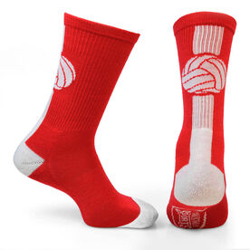 Volleyball Woven Mid Calf Socks - Superelite (Red/White)