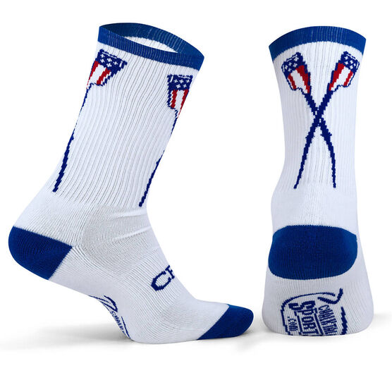 Crew Woven Mid Calf Socks - USA Crossed Oars (White/Blue)