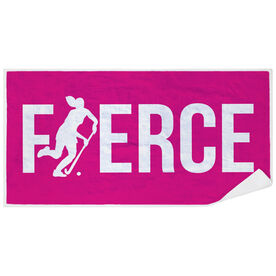 Field Hockey Premium Beach Towel - Fierce Girl