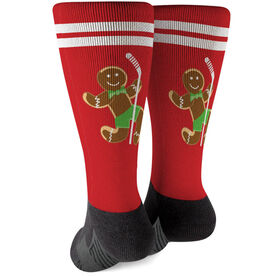 Hockey Printed Mid-Calf Socks - Gingerbread Man