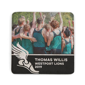 Track & Field Stone Coaster - Team Photo with Winged Foot