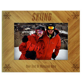 Skiing Bamboo Engraved Picture Frame - Skiing Snowflakes