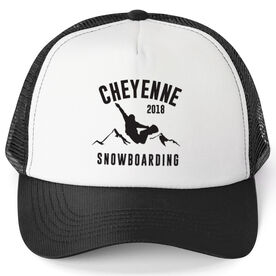Snowboarding Trucker Hat - Team Name With Curved Text