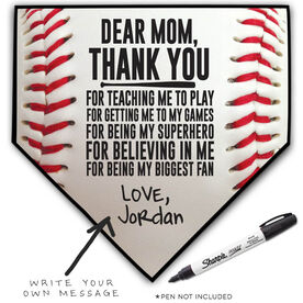 Baseball Home Plate Plaque - Dear Mom