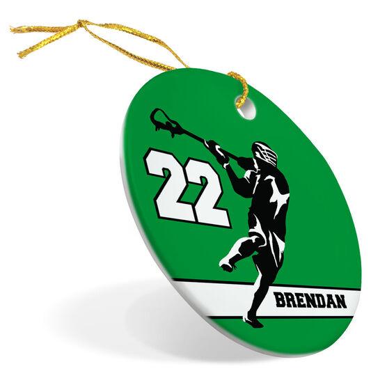 Guys Lacrosse Porcelain Ornament Personalized Jump Shot Silhouette