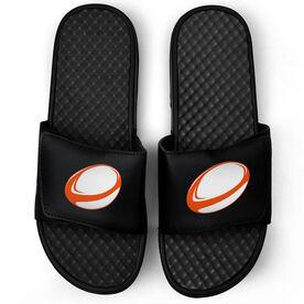 Rugby Black Slide Sandals - Rugby Ball