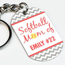 Softball Printed Dog Tag Keychain Personalized Softball Mom Of