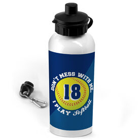 Softball 20 oz. Stainless Steel Water Bottle Personalized Don't Mess With Me I Play Softball