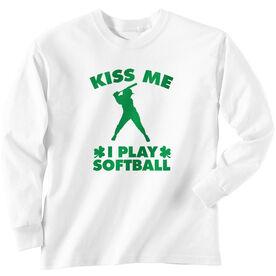 Softball Tshirt Long Sleeve Kiss Me I Play Softball